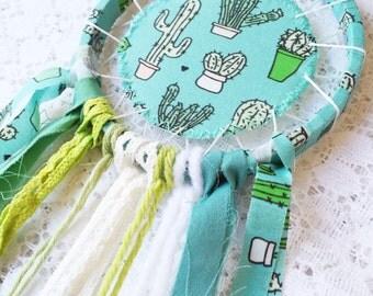 Cactus Dreamcatcher, Nursery Decor, Turquoise Green, Greenery Dream Catcher, Baby Room, Succulent Decor, Gender Neutral, Green Thumb