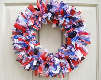 4th July Wreath, 4th of July Decor, Patriotic Wreaths, Patriotic Decor, Red White Blue Wreath, Military Decor, Fourth of July Wreath
