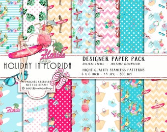 HOLIDAY in FLORIDA Paper Pack SURF Summer Vacation Watercolor Flamingo Umbrella Drink Palm Sunglasses Flipflops Watercolor Backgrounds