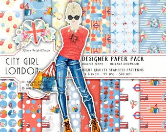City Girl London Paper Pack - Hip Rockmusic City Shopping Fashion Watercolor Illustration Planner Supplies Hot Red Blue