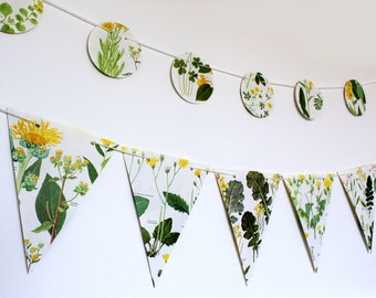 Yellow Floral Garland, Double-sided Flower Bunting, Wedding decor, Wedding Garland,  eco-friendly banner, paper bunting