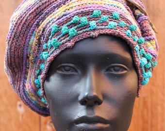 Purply Ocre-ish Crochet Hat with a Beautiful Green Shawl Pin...