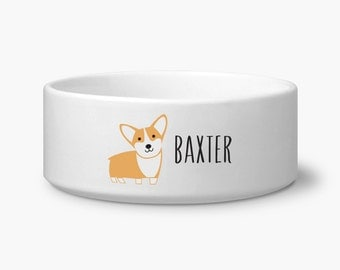 Personalize Corgi dog bowl, ceramic corgi dog food bowl, custom name dog bowl