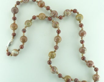 """Red Jasper & Red Sesame Agate Beautiful Stone Natural Gemstone Sterling Silver Necklace 28"""" Long"""