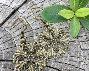 Antique Brass Filigree Star Drops . Earrings