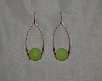Retro green prism and copper earrings