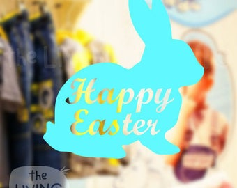 Happy Easter Rabbit, Decorative Glass Shop Window Display, Removable Stickers Australian Made