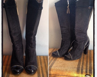 Gorgeous Suede and Patent Leather Knee High Boots by Diesel Size US 7.5 /UK 5