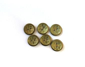 6 Fancy Gold Metal Buttons, Antique Gold Metal Buttons