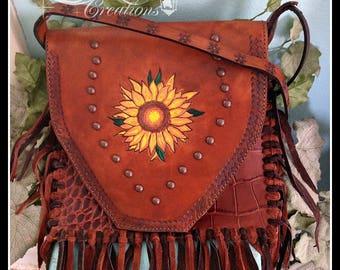Purse sunflower painted and tooled leather handbag fringe