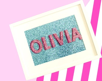 Glitter Name Sign, Baby Name Sign, Baby Shower Gift, Nursery Wall Art, Nursery Decor