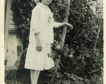 """Vintage Photo """"We Found a School Girl in the Garden"""" Snapshot Antique Photo Black & White Photograph Found Paper Ephemera Vernacular - 17"""