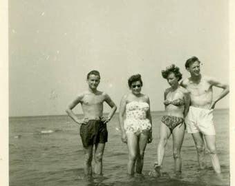 "Vintage Photo ""Enjoying the Warm Waters"" Snapshot Antique Photo Old Black & White Photograph Found Paper Ephemera Vernacular - 115"