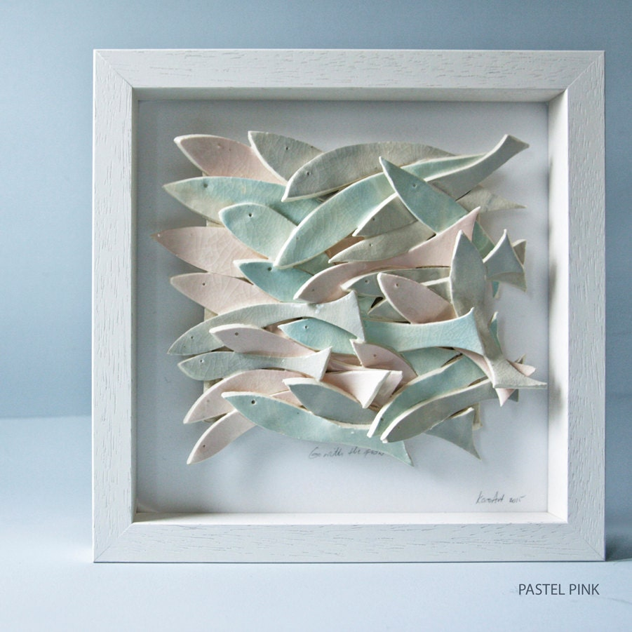 Ceramic wall art ceramic fish art sculptural pottery tile for Fish wall decor