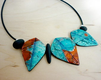 Aqua turquoise red Leaf Necklace, OOAK artisan boho statement necklace, unique handmade colorful summer, mother's day, original leaf design