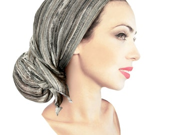 Black White Gray Taupe Pre-tied Head-Scarf Tichel Textured Breathable Knit Collection ShariRose Boho Chic Soft Cozy Warm Winter Like Hair