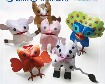 PRINTABLE FARM Animals Cootie Catchers | PDF download | Cow, hen, chicken sheep, peacock, origami for kids, simple play, fortune tellers
