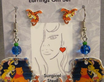Winnie the Pooh Cartoon Earrings gift set - Pooh Bear jewelry - Tigger Jewellery