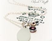Sterling Silver Beach Glass Necklace/Sea Glass Necklace - Swarovski Birthstone Channel Charm adorned with a White Swarovski Pearl