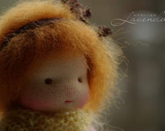 Anita Natural Fibers Doll Waldorf Inspired Doll by Atelier Lavendel Pocket Doll Cuddle Doll 7in OOAK doll soft toy ECO friendly