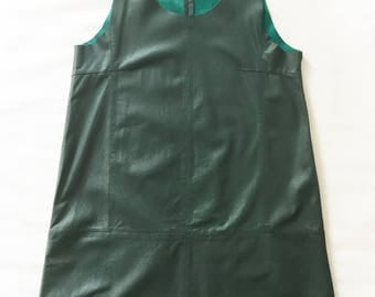 Leather dress moss green A-shape size 2-4