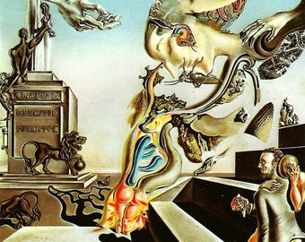 The Lugubrious Game by Salvador Dali, Vintage 8x11 1974 Color Modern Surreal Book Art Print, FREE SHIPPING