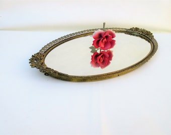 Vintage Mirrored Perfume Tray, Gold Filigree, Metal Vanity Tray, Oval Mirror, Plateau Mirror