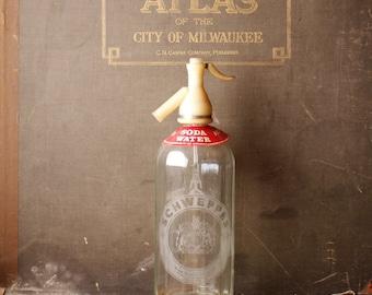 Vintage Clear Glass Schweppes Seltzer Bottle - Retro Barware!