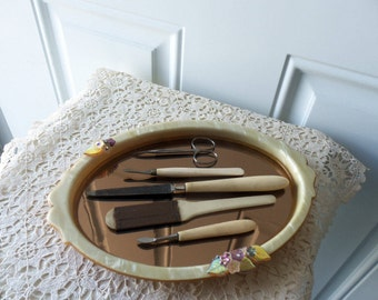 Antique Manicure Set with Tray - 1900s, Bakelite, Mother of Pearl Tray, Vanity Display, Collectible, 100 Years or Older