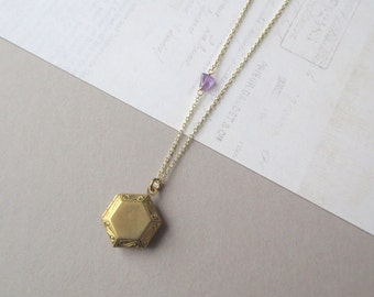 Ock - Geometric Locket Necklace with Purple Amethyst Gemstone Triangle and Geo Pattern; Gold Brass Open Close Locket Medallion by InfinEight