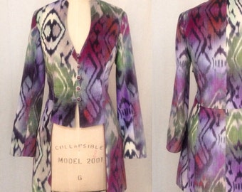 Ikat Print Velvet Edwardian Jacket, Blue and Purple, size Medium