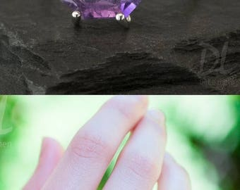 Purple Amethyst Ring Silver, February Birthstone Ring, Mothers Ring, Stackable Birthstone Ring, Sterling Silver Ring, Marquise Prong Set