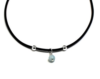 Blue Aquamarine Leather Choker Necklace March Birthstone Anniversary Gift Birthday Bridal Bridesmaids Mother in law Daughter Boho Graduation