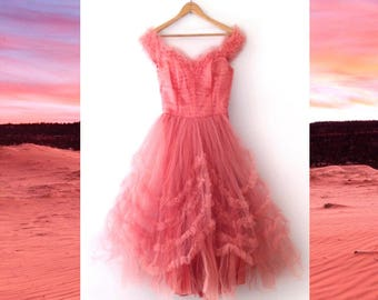 1950s coral pink tulle crinoline debutane ball gown size small