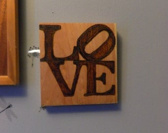 Love pyrography love like its the 70's square wall sign on pine