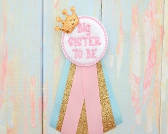 Sister to be corsage - Big sister to be  gift - Baby shower corsage - Big sister to be pin - Big sister baby shower gift - Neautral baby pin