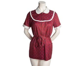 Vintage paisley print tunic / scrubs -- maroon paisley top tie waist -- size medium