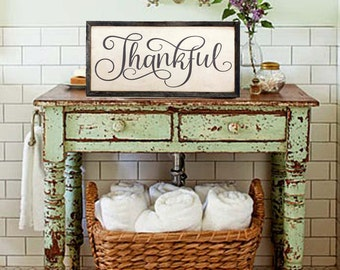 """Thankful Sign, Farmhouse Decor, Fixer Upper Decor, Thankful Wood Sign, Wall Art, Bible Verse Sign, 12"""" x 24"""" Wood Sign with 1"""" Framed Sign"""