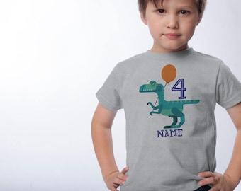 Dinosaur Birthday Shirt - Velociraptor 4th Birthday - Personalized Shirts - Dinosaur Birthday Party - 1st, 2nd, 3rd, 5th Robot Dinosaur Tees