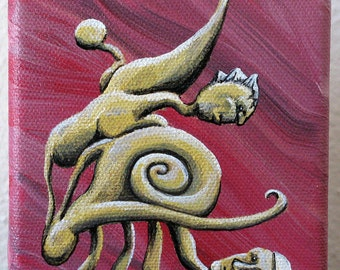 Small surreal painting - Exoskeleyellow Duo - creature illustration, acrylic on canvas