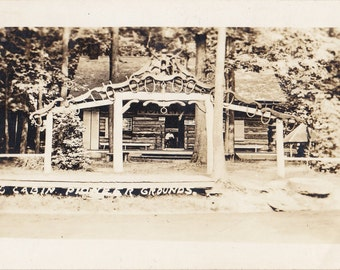Pioneer Log Cabin- 1910s Antique Photograph- Pioneer Grounds, Silver Lake, NY- New York History- Real Photo Postcard- RPPC- Paper Ephemera