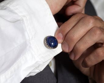 Blue Cufflinks in Sterling Silver with Natural Blue Lapis Gemstone  – Ideal Wedding Cufflinks for Blue Wedding