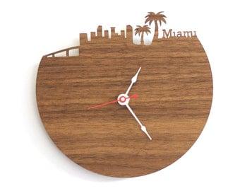 """Miami Clock - 7"""" Walnut SAMPLE"""