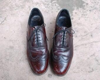 Vintage Mens 8.5d Florsheim Lace up Long Wingtips Oxfords Dress Shoes Burgundy Leather Medallion Toe Preppy Hipster Mod Wedding Suit Shoes