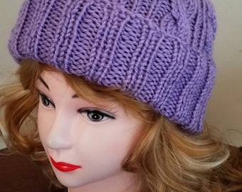 Lilac Color Cable Hand-Knit Hat. Super soft, for men or women- Ready to be Shipped