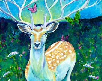 White Stag, GREETING CARD - mythical deer, vision quest, stag, buck, white, green, queen anns lace, butterflies