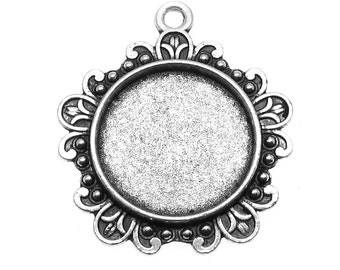 Cabochon Settings : 10 Antique Silver Cabochon Settings | Cameo Settings | Bezels ... Holds 18mm Cabochons -- 104532.H6I