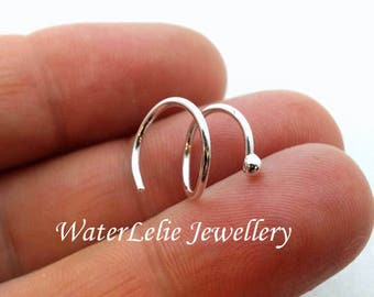 Sterling Silver double piercing hoop - second hole earring - two hole spiral - threader earring. side by side piercing hoop. twist in spiral