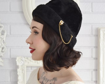 Vintage 1960s Black Faux Fur Wool Hat with Gold-Tone Metal Hat Pin by Gwen Pennington
