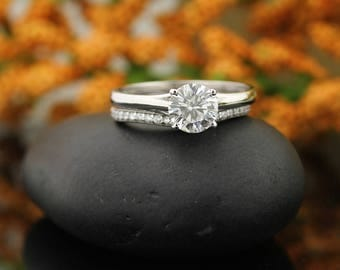 Forever One Moissanite Colorless Engagement Ring & Diamond Wedding band set  In 14k White Gold,  Gem999